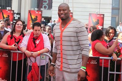 Israel Idonije of the Chicago Bears walks the red carpet during for the Chicago premiere of the Karate Kid at the AMC River East 21 in Chicago, IL,  USA on Wednesday 26, May 2010.