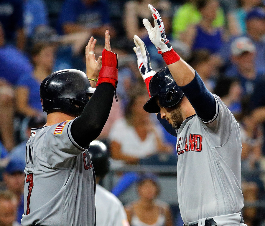 . Cleveland Indians\' Yan Gomes, right, celebrates with Yonder Alonso after Gomes hit a grand slam during the sixth inning of a baseball game against the Kansas City Royals on Tuesday, July 3, 2018, in Kansas City, Mo. (AP Photo/Charlie Riedel)
