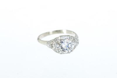 Art Deco Platinum, Gold and Old European Cut Diamond Engagement Ring
