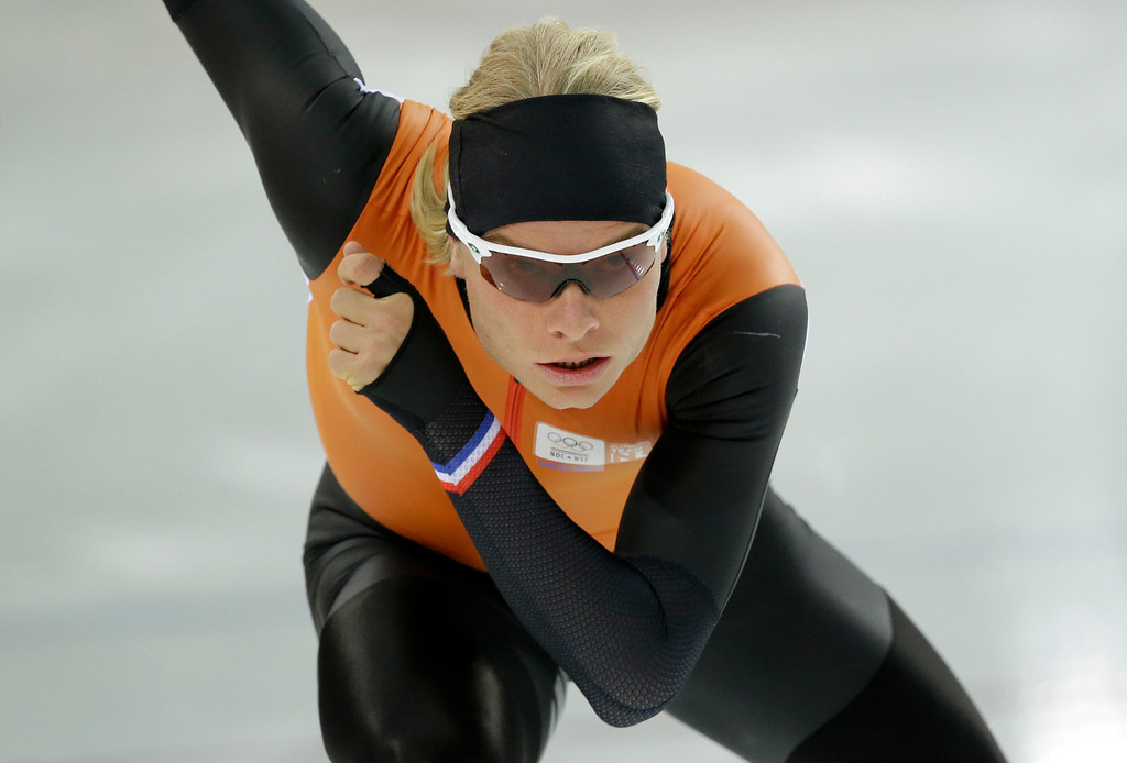 . Speed skater Koen Verweij of The Netherlands trains at the Adler Arena Skating Center during the 2014 Winter Olympics in Sochi, Russia, Tuesday, Feb. 4, 2014. (AP Photo/Patrick Semansky)