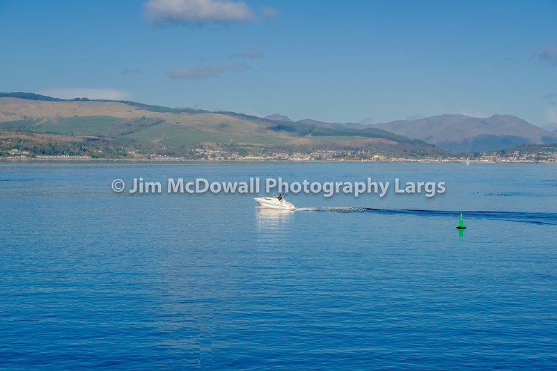 Small Speed Boat on the River Clyde in October Sunshine
