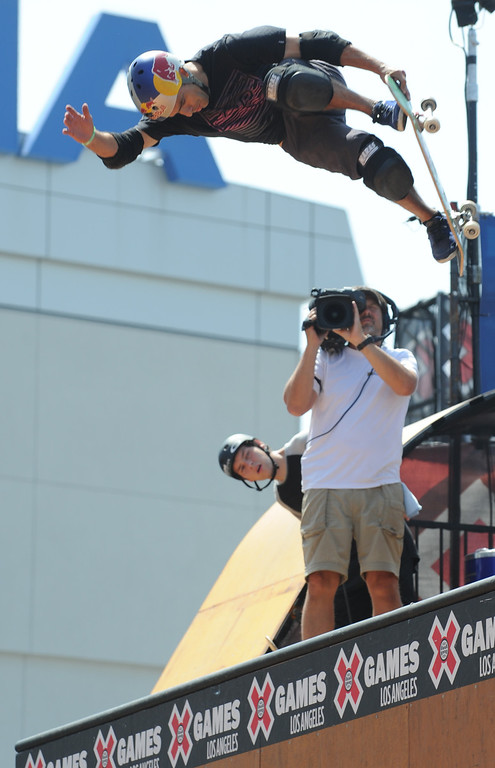 . Sandro Dias during the Skateboard Vert Finals at L.A. Live in Los Angeles, CA. 8/3/2013(John McCoy/LA Daily News)