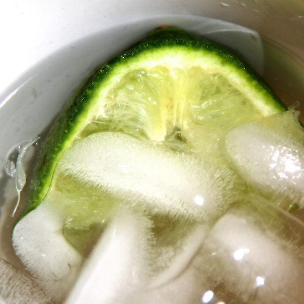 My fave gardening drink...A fresh lime half squeezed in ice water.  So refreshing