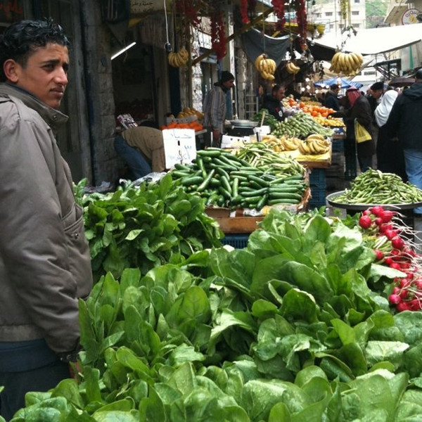 Vegetable market in downtown Amman, Jordan