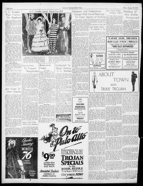 Daily Trojan, Vol. 26, No. 21, October 19, 1934
