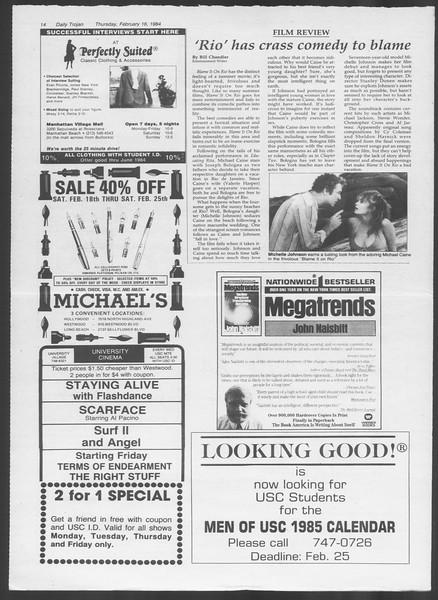 Daily Trojan, Vol. 95, No. 28, February 16, 1984
