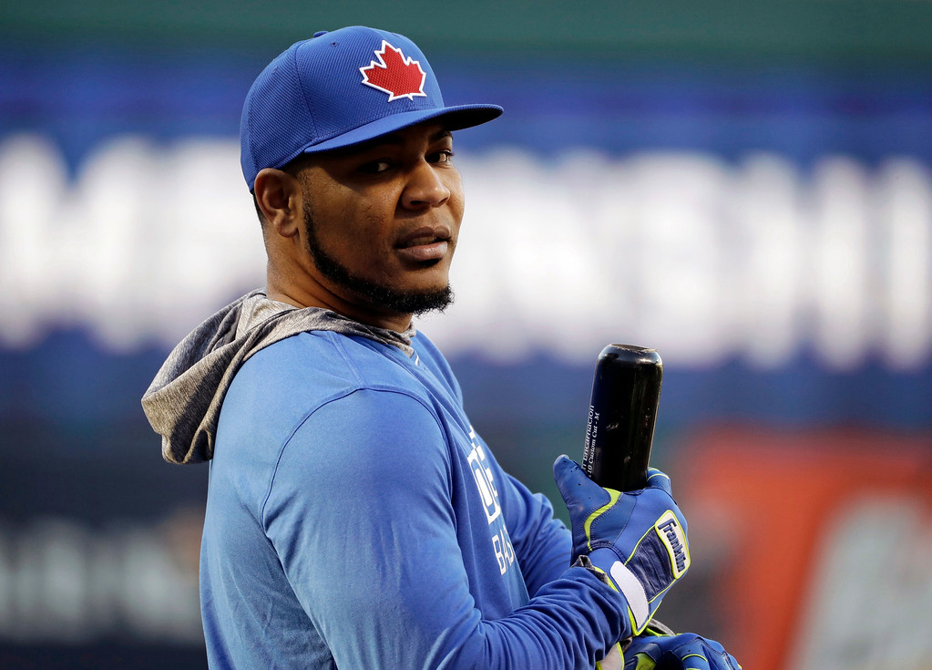. Toronto Blue Jays designated hitter Edwin Encarnacion waits to hit during warmups before Game 1 of baseball\'s American League Championship Series against the Cleveland Indians in Cleveland , Friday, Oct. 14, 2016. (AP Photo/Gene J. Puskar)