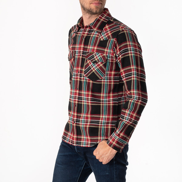 Black Crazy Check Ultra Heavy Flannel Western Shirt-1811.jpg