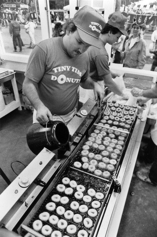 . The production line at a Tiny Tim donut stand during the 1987 Minnesota State Fair. Photo courtesy of the Minnesota State Fair.