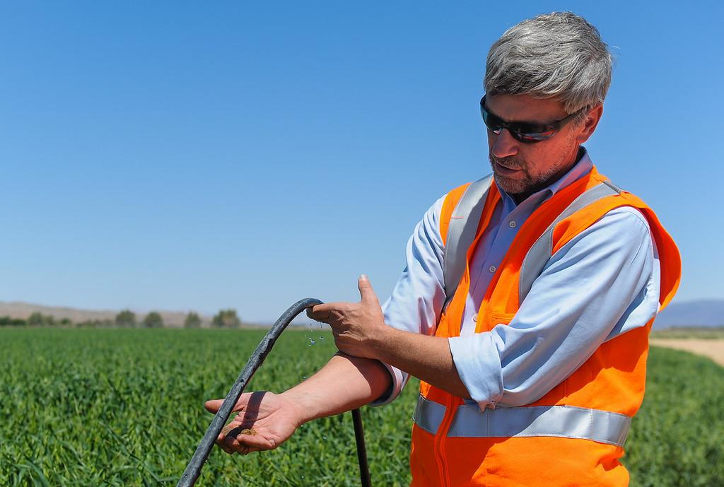 . PG&E Environmental Engineer Kevin Sullivan explains PG&E\'s chromium-6 treatment by plants remediation strategy in the middle of an alfalfa field in Hinkley, Calif. on Thursday, May 2, 2013. Sullivan leads the company\'s Hinkley remediation program. (Rachel Luna / San Bernardino Sun)