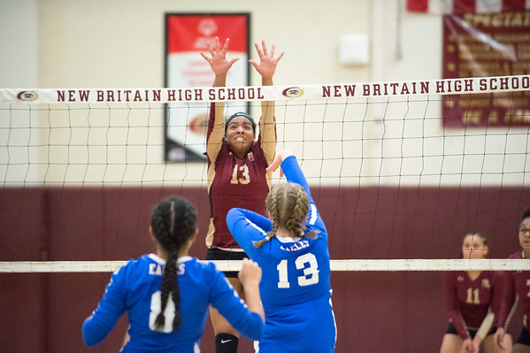 10/10/19 Wesley Bunnell | StaffrrNew Britain girls volleyball vs Tolland at New Britain High School on Thursday evening. Abria McDonald (13).