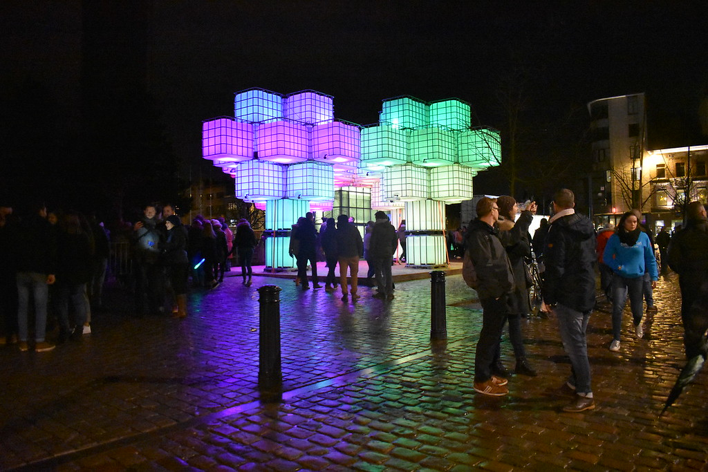 Ghent Light Festival art installation Pixel Forrest by local Ghent artist Bram Lemaire