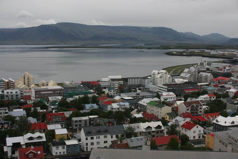 View of Reykjavik from the top of Hallgrimskirkja church.