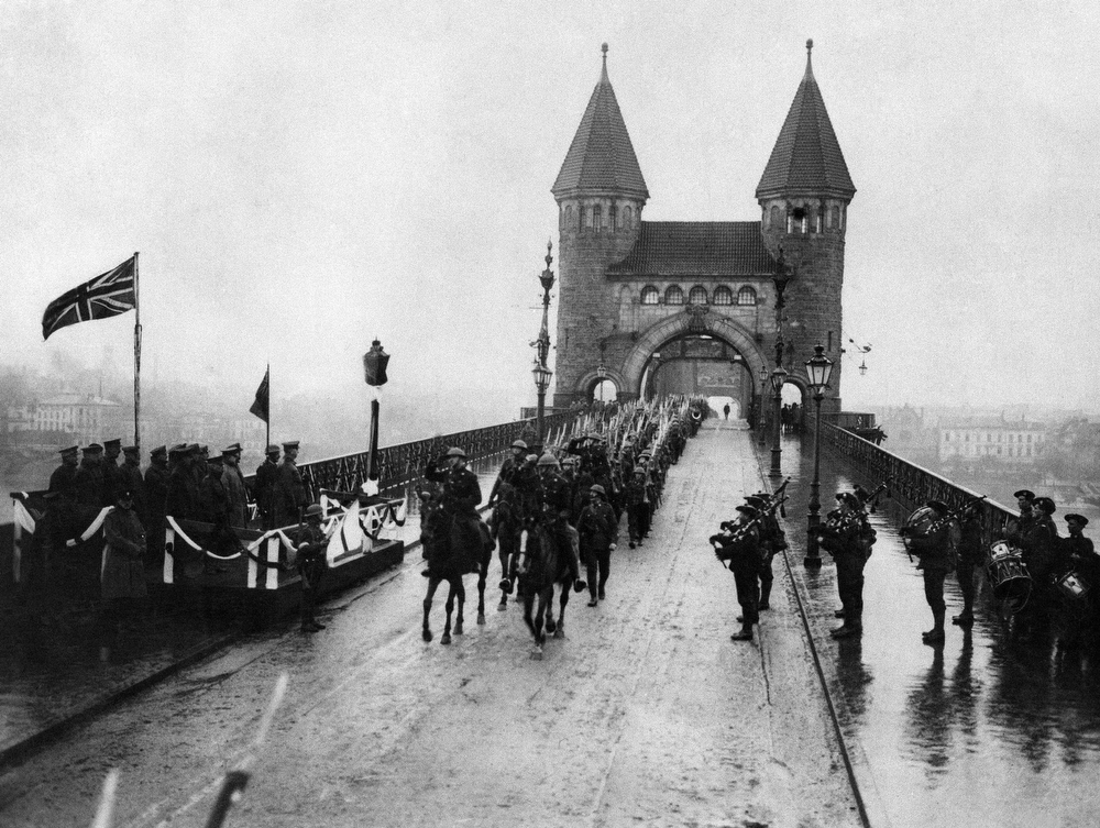 Description of . The first British troops to cross the Rhine to Cologne, to occupy their sector of the German Rhine provinces, Dec. 12, 1918. (AP Photo)