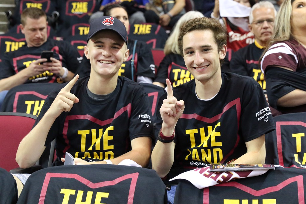 . Tim Phillis - The News-Herald Fans get ready for Game 3 of the NBA Finals between the Cavaliers and Warriors on June 7 in Cleveland.