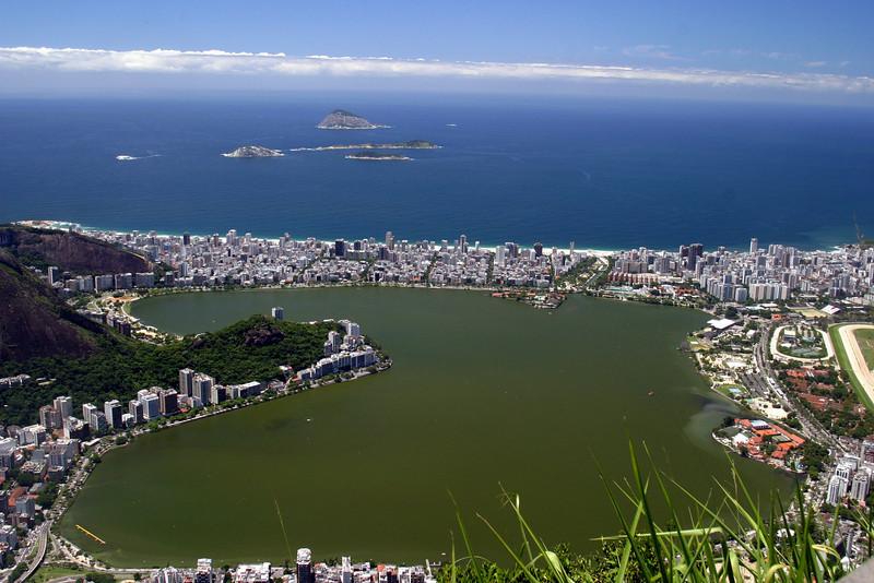 Southwest/Western view from the Corcovado; Lago Rodrigo de Freitas, and Ipanema. 2004