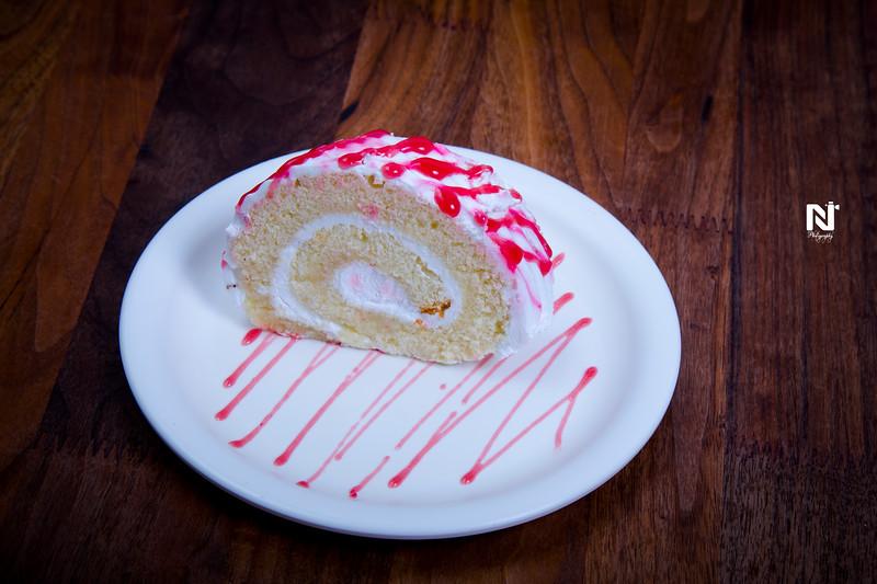 Tasty strawberry cake slice