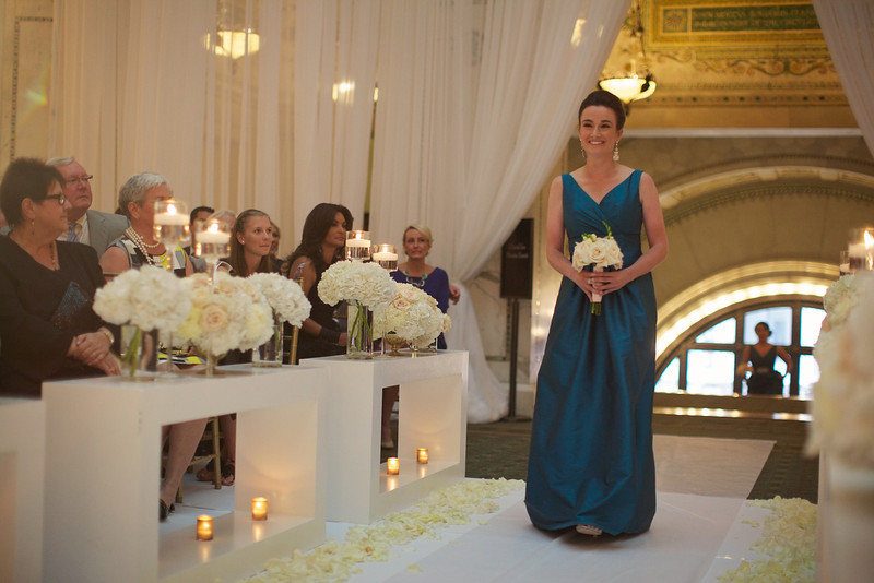Le Cape Weddings - Chicago Cultural Center Weddings - Kaylin and John - 012 Bride Walking Down the Isle 34