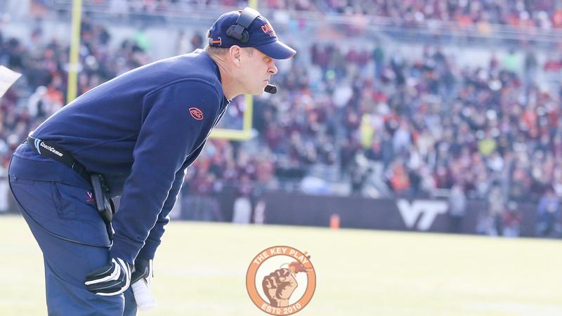 Virginia head coach Bronco Mendenhall watches his team play in the second half. (Mark Umansky/TheKeyPlay.com)