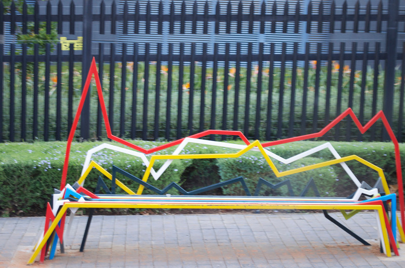 Day 12 Rainbow bench! Rivonia Road in Sandton, from the bus windows.