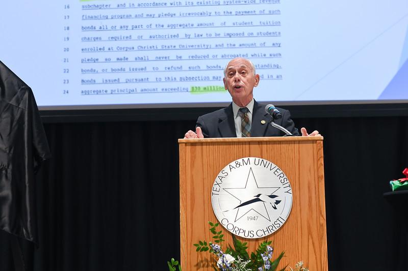 President Emeritus Dr. Robert Furgason speaks to attendees during TAMU-CC's Furgason Engineering Building naming ceremony on December 7, 2018 at Texas A&M University-Corpus Christi.