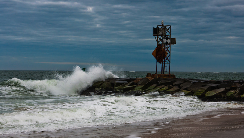 Waves crashing on a jetty in the Atlantic, Ocean City, Maryland