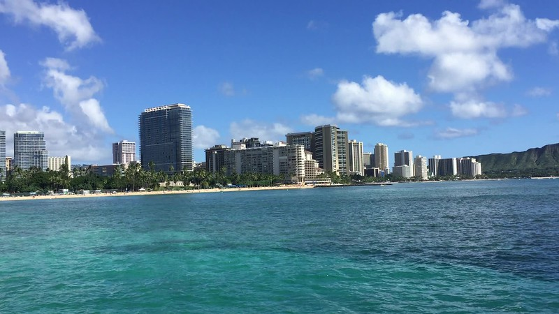 View from the catamaran of Waikiki
