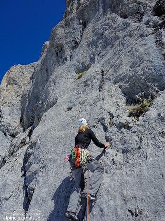 Via Anita alpine climbing at Hochwiesler, Tannheim