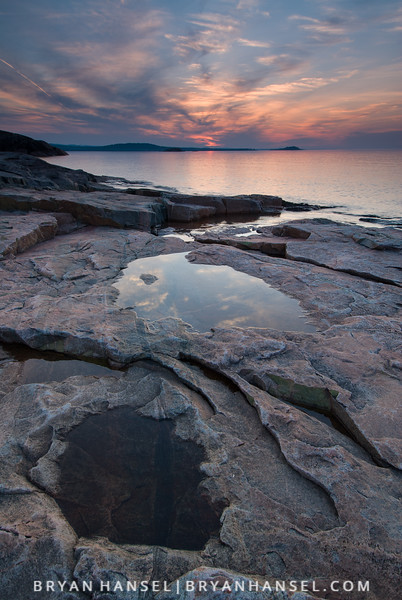 Sunset on Lake Superior near Marquette, Michigan.