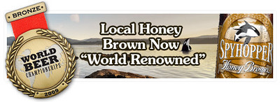 Vancouver Island Brewery web banner for Spyhopper Honey Brown Ale<br /> Bronze Medal - 2009 World Beer Championships