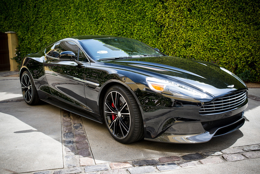 . Mark Maron\'s 2014 Aston Martin Vanquish.  The V-12, 600hp carbon fiber supercar starts around $300,000.00.  Photo by David Crane/Los Angeles Daily News