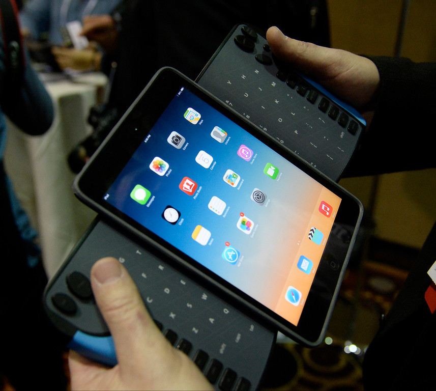 . TREW Grip Mobile Qwerty shows its new tablet keyboard during the 2014 Consumer Electronics Show (CES) on Sunday, June 5, 2014 in Las Vegas, Nevada. The 2014 CES show starts Tuesday, Jan. 7, 2014 and runs until Friday, Jan. 10, 2014 with 150,000 people estimated to attend the show. (Photo by Gene Blevins/Los Angeles Daily News)
