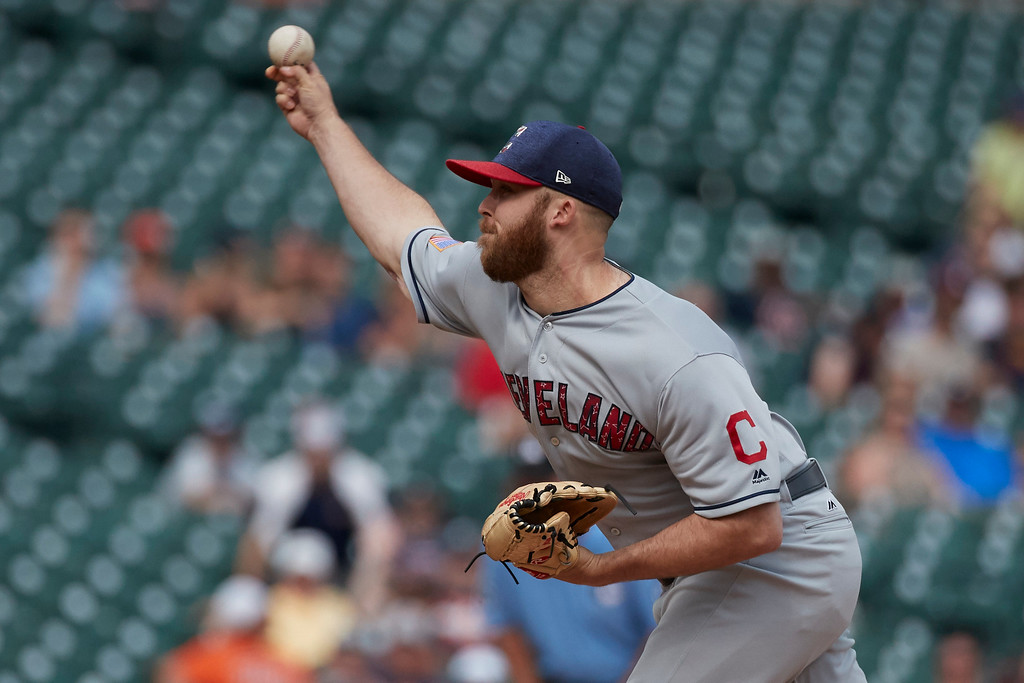 . Cleveland Indians relief pitcher Cody Allen pitches in the ninth inning of a baseball game against the Detroit Tigers in Detroit, Sunday, July 2, 2017. Cleveland won 11- 8. (AP Photo/Rick Osentoski)