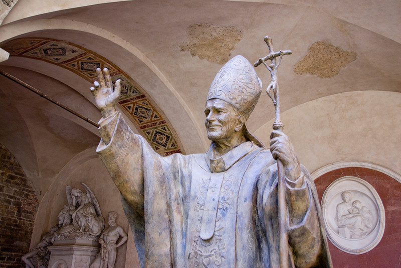 Pope John Paull II statue in Florence, Italy