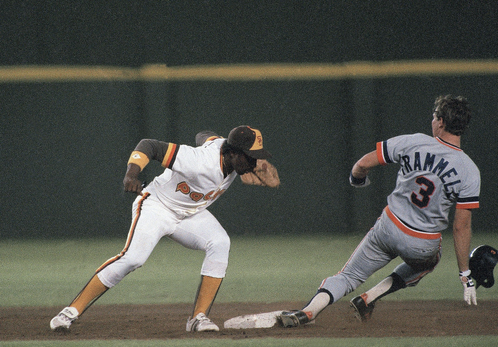 . Detroit Tiger�s shortstop Alan Trammell slides safely into second base with a stolen base as padre�s short stop Gary Templeton tries to make the tag in 1984. (AP Photo)