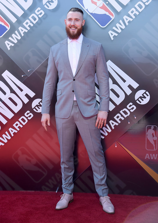 . NBA player Aron Baynes, of the Boston Celtics, arrives at the NBA Awards on Monday, June 25, 2018, at the Barker Hangar in Santa Monica, Calif. (Photo by Richard Shotwell/Invision/AP)