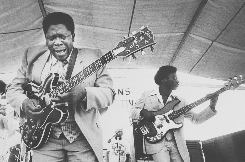 . Guitarist B.B. King left, and an accompanist entertain Saturday, April 21, 1980 crowds at the opening of the 1980 New Orleans Jazz and Heritage Festival. (AP Photo)