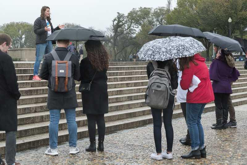 New Data Project Executive Director Sarah Sullivan addresses the marches on the steps of the Lincoln Memorial at the Audacity To Love,  March on the Polls, on Saturday,  October 27,  2018