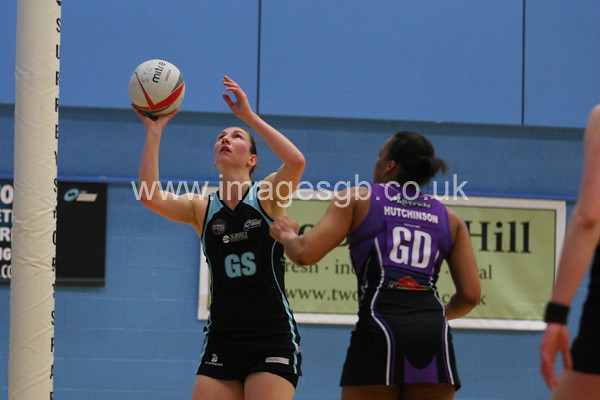 Rachel Dunn during  Surrey Storms 63 v 42 win against Hertfordshire Mavericks at Surrey Sports Park on the 29 April 2013 (ImagesGB)