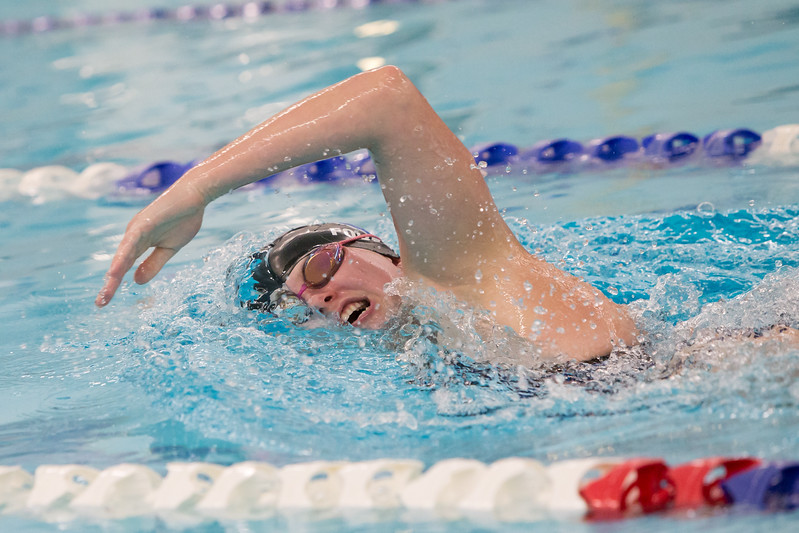 Southington's Olivia Fournier swims the 200 freestyle Wednesday at the YMCA in Southington September 27, 2017 | Justin Weekes / For the Record-Journal
