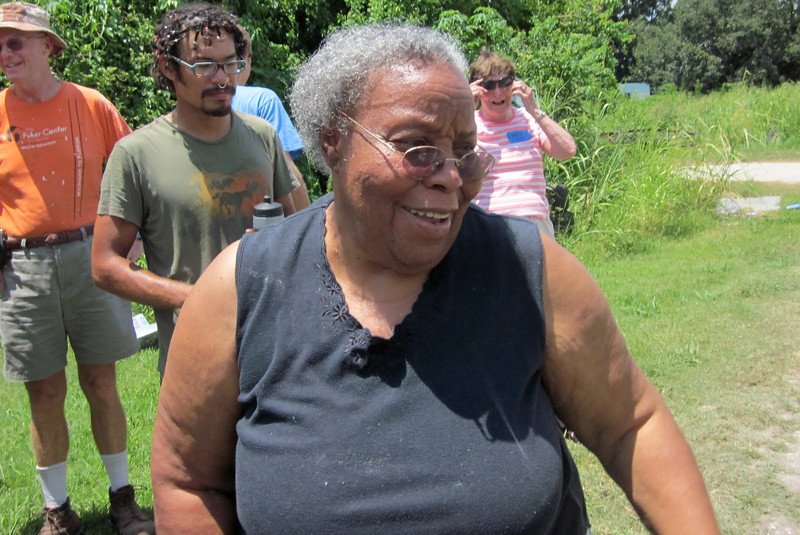 2010 08-06  Mama Black greets the last of many work crews who enjoyed lunch at her old trailer.  ky
