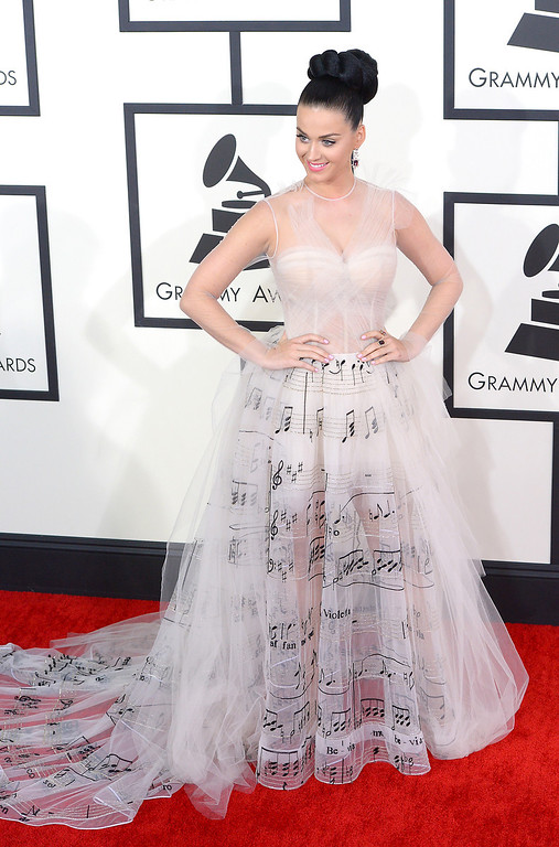 . Katy Perry arrives at the 56th Annual GRAMMY Awards at Staples Center in Los Angeles, California on Sunday January 26, 2014 (Photo by David Crane / Los Angeles Daily News)