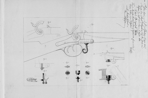 Image of drawing from 28 Jan 1833 patent