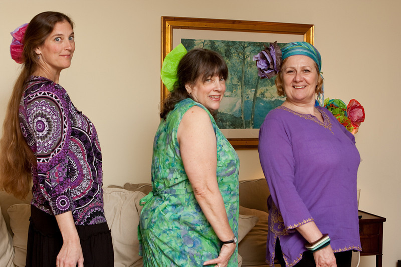 Lisa, Mom, and Abi show off their dance party outfits.
