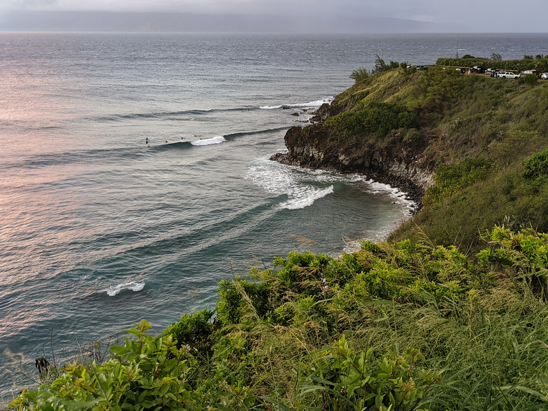 Surfers at Honolua Bay