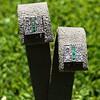 Art Deco Diamond and Emerald Disc Earrings 2
