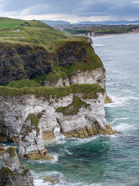 Scenic view of cliffs and beach on the Causeway Coastal Route, Northern Ireland, Ireland