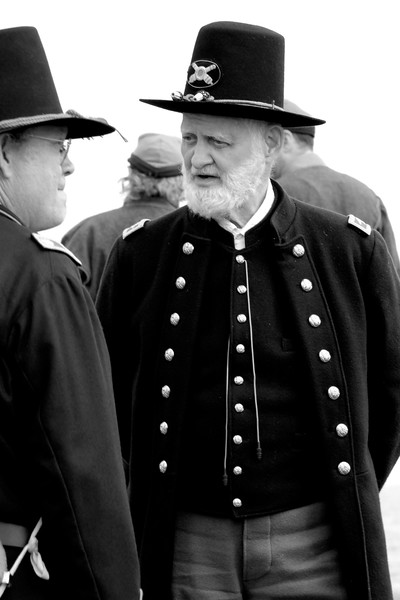 The general, one of the oldest reenactors on the field, stands with Colonel Vernon Terry at Patriots Point in Mt. Pleasant, South Carolina on Sunday, April 10, 2011. ..The 150th Anniversary of the Firing on Ft. Sumter was commemorated with lectures, performances, demonstrations, and a living history throughout the area on James Island, Charleston, Mt. Pleasant, and Sullivan's Island during the week from April 8-14, 2011. Photo Copyright 2011 Jason Barnette