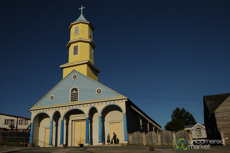 Colorful Wooden Church in Chonchi - Chiloe Island, Chile