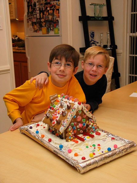 boys and gingerbread cake -- Thanksgiving Day 2005